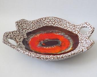 Large Vallauris fat lava bowl. Mid century retro dish. Vintage French textured ceramic/pottery. Orange/brown/white. 1970s France, asymmetric