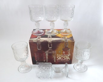 Boxed Ravenhead Siesta wine glasses. Vintage bark textured glass. 1970s retro clear goblets. Mid century 15cl mid-sized white/red. Barware