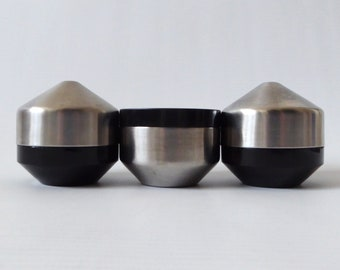 Old Hall Alveston Robert Welch salt and pepper pots/shakers & mustard pot. 18/8 stainless steel + black. Vintage Retro Modernist 1960s/1970s