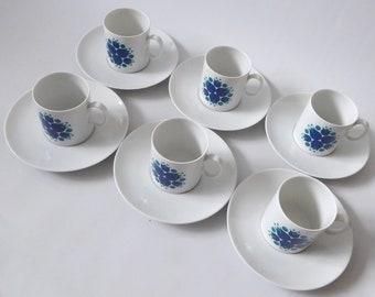 Vintage 1960s Thomas Pinwheel 6 cups and saucers. Blue & teal porcelain. West German Minimalist Modernist, tulip flower. Dining. Rosenthal
