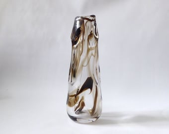 "Vintage Whitefriars knobbly 9612 art glass vase. Brown streaky undulating lobed. 1960s/1970s mid century. William Wilson & Harry Dyer. 10"""