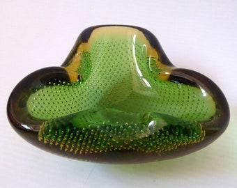 Vintage Murano art glass controlled bubble bowl/dish ashtray. Retro 1960s/1970s. Amber & green precise bullicante. Small folded triangular