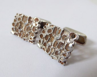 Vintage 1972 Sterling silver 925 cufflinks. Brutalist 1970s mid-century. Fully hallmarked AC.Co London. Modernist rectangular 70s retro pair