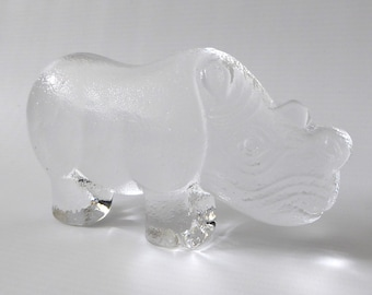 Lisa Larson 'Reliable Rhino' for Royal Krona Animals in Freedom 1970s. Crystal glass paperweight figurine. Clear animal vintage Scandinavian