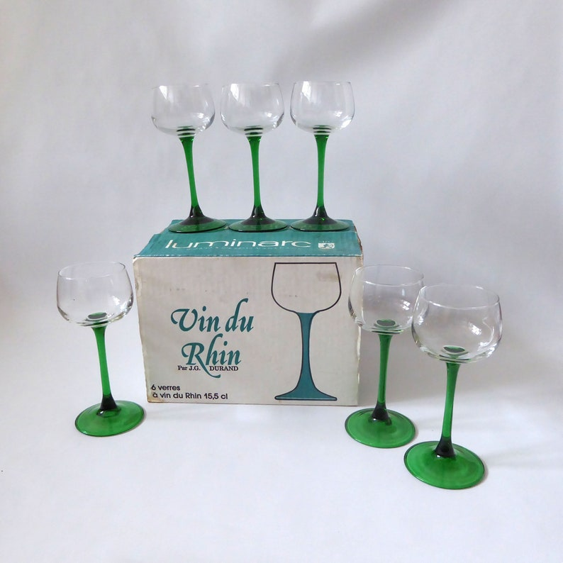 6 boxed vintage Luminarc Rhine wine glasses. Emerald green image 0