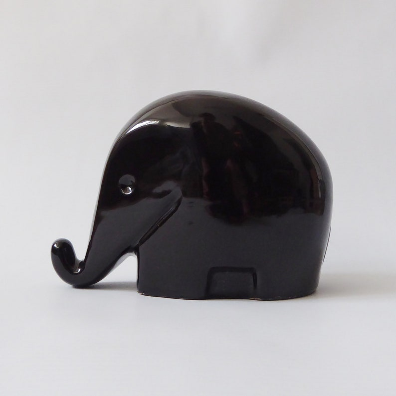 Luigi Colani black ceramic elephant money box/piggy bank. image 0