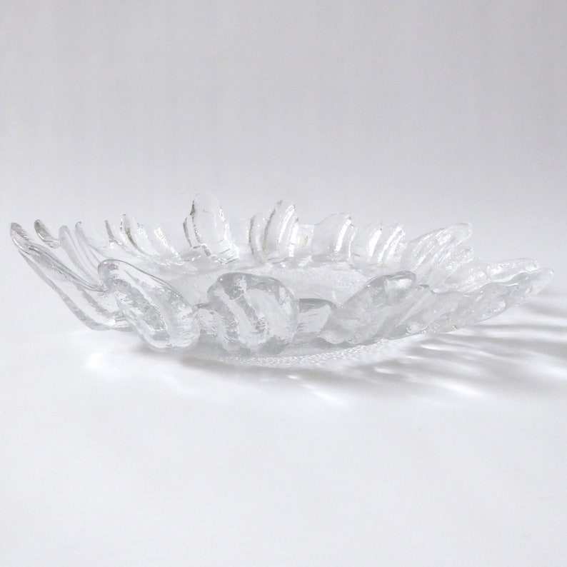 Vintage Lindshammar Glass ice textured dish. Swedish crystal image 0