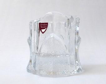 Orrefors art glass crystal votive. Textured tealight candle holder with label sticker. Vintage Swedish Scandinavian, bark petal flower leaf