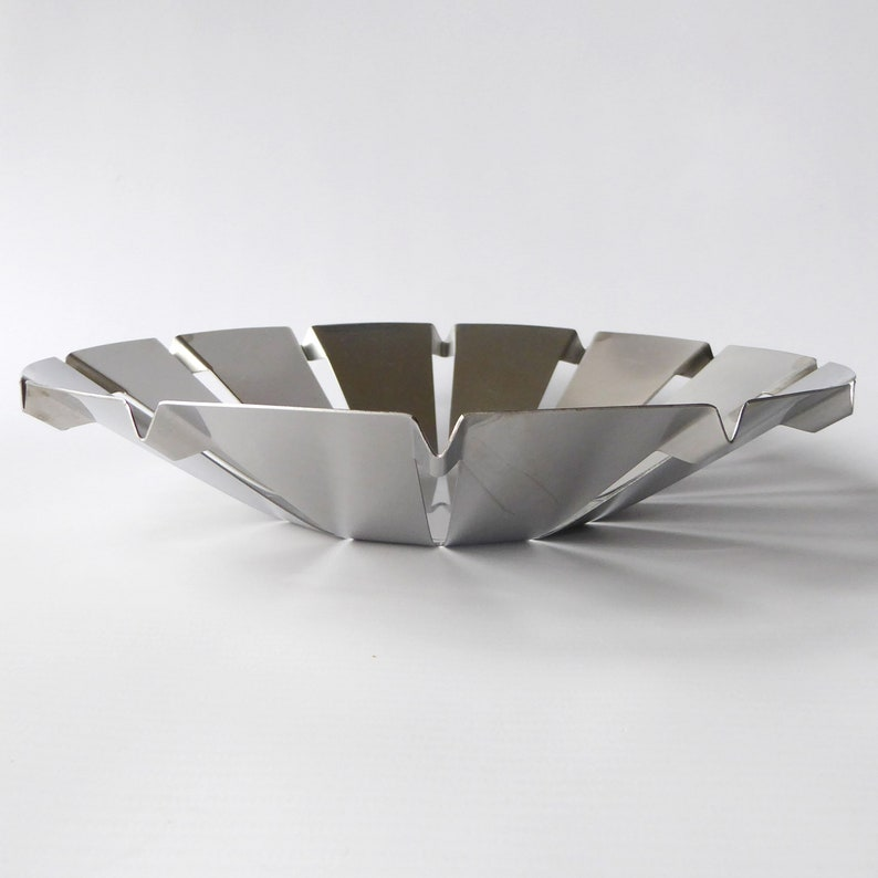 Modernist stainless steel Danish fruit bowl. 18/8 folded image 0