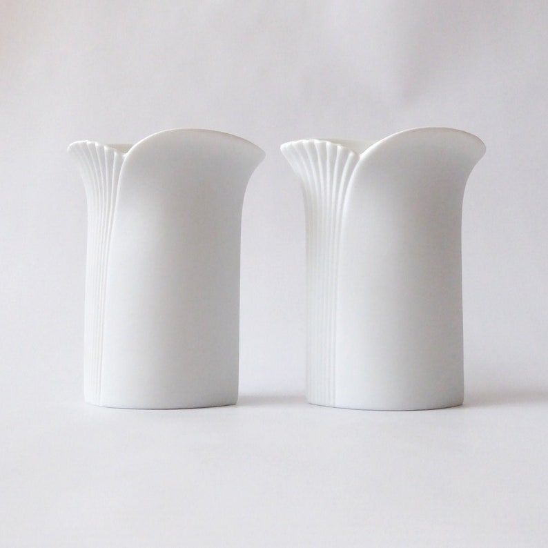 Two AK Kaiser West German candle holders. White bisque image 0
