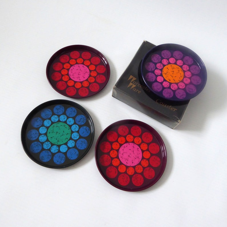Vintage Worcester Ware coasters. 1960s/1970s dots circles image 0