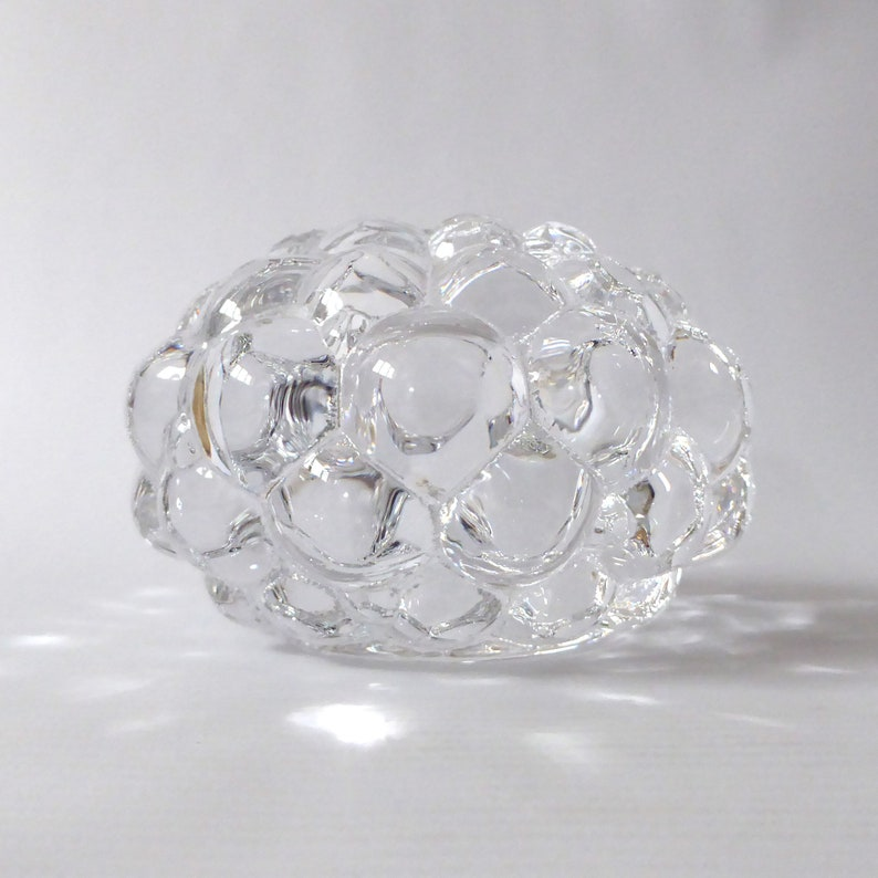 Orrefors Raspberry candle holder/votive. Signed crystal art image 0