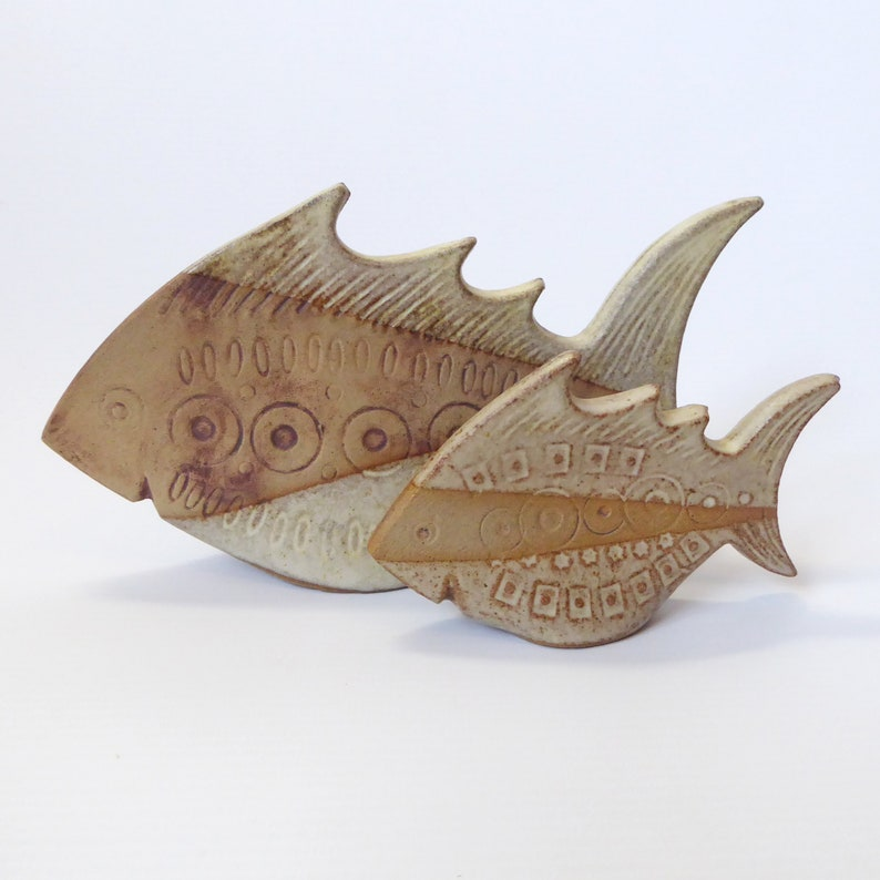 Vintage Broadstairs Pottery fishes. Rare 1960s/70s handmade image 0