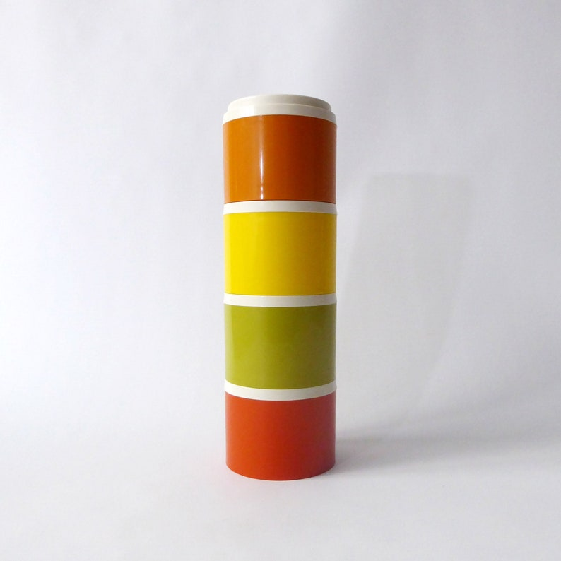 Tupperware stacking spice pots. 4 retro 1970s plastic image 0