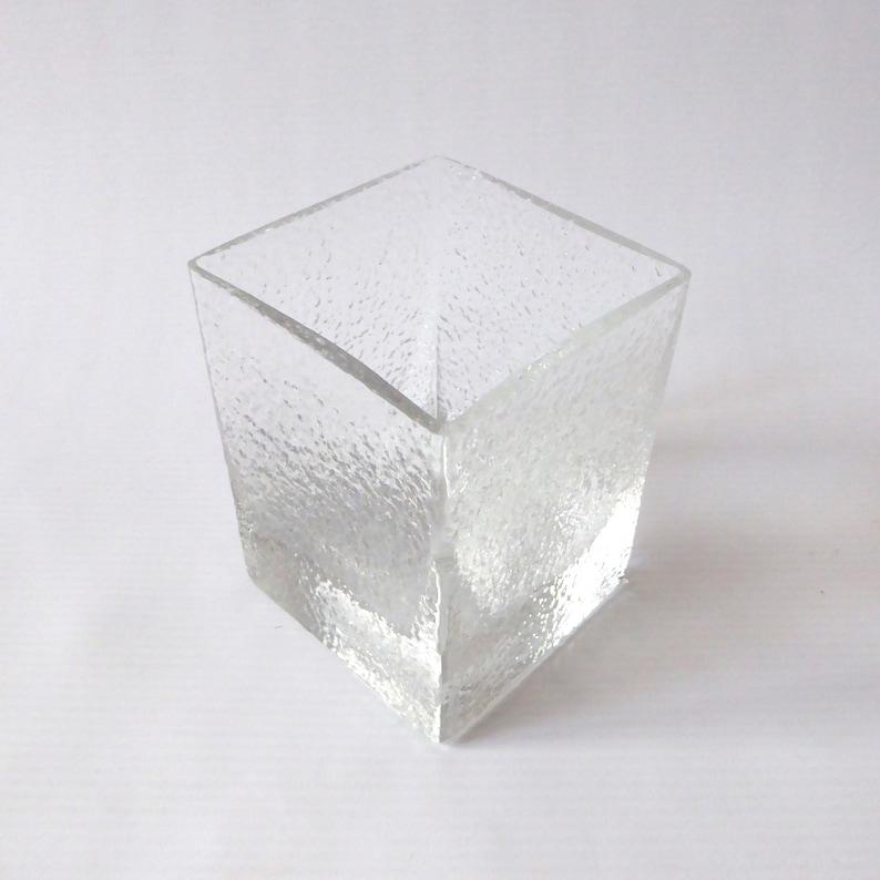Vintage Dartington Frank Thrower FT192 square glass vase. Art image 0