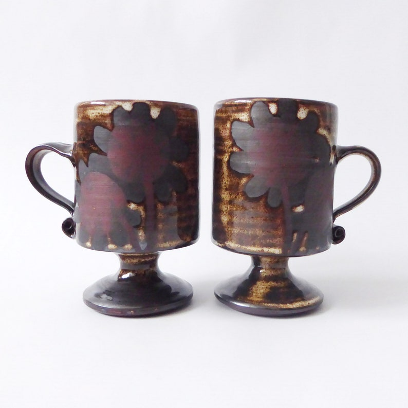 Two Briglin Pottery mugs. Vintage handmade footed cups. Retro image 0
