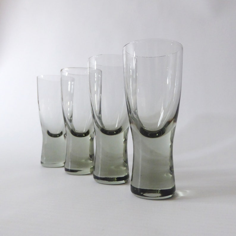 Four Holmegaard Canada smoke small shot glasses. Per Lutken image 0