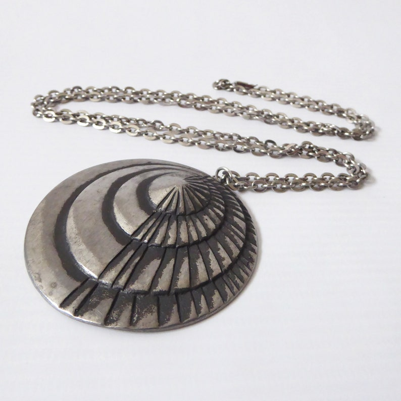 Vintage Swedish Erik Fransson pendant & necklace. Pewter image 0