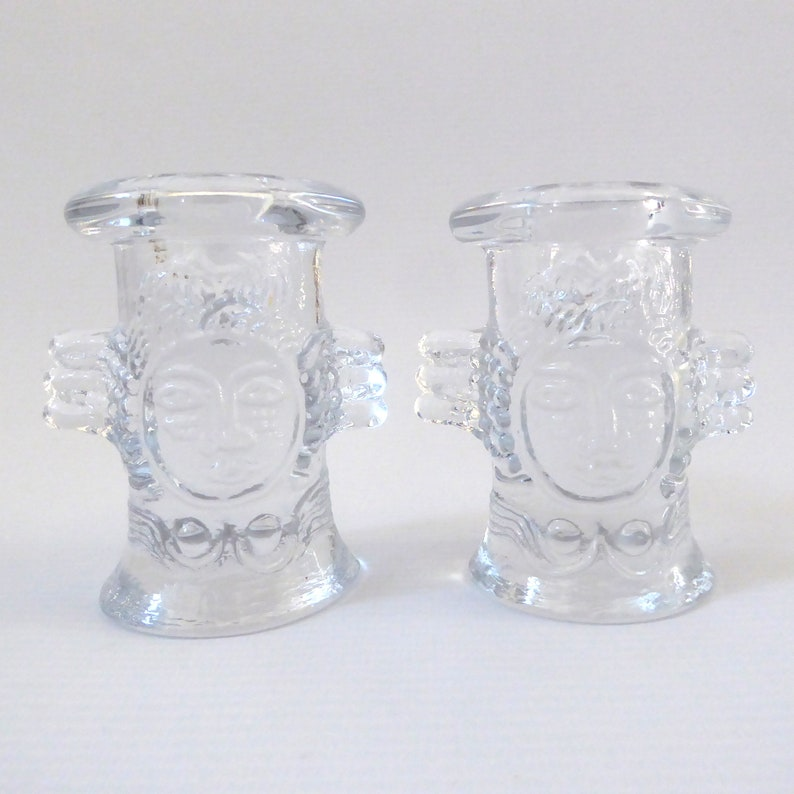 Two Boda angels crystal glass candle holders Bertil Vallien. image 0