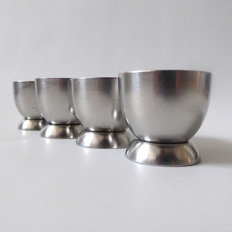 Vintage Old Hall egg cups. Set of four round stainless steel image 0