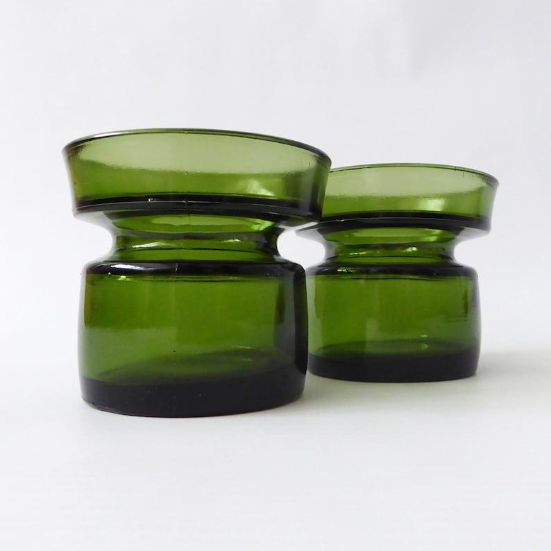 Two vintage Dansk candle holders. Retro green glass votives. image 0