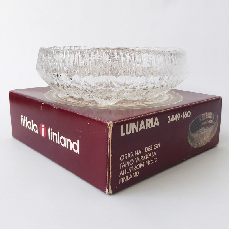 Boxed Iittala Lunaria art glass bowl Tapio Wirkkala 1970s image 0