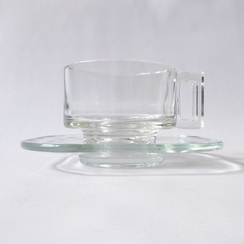 Joe Colombo Arno cup & saucer. Italian clear pressed glass image 0