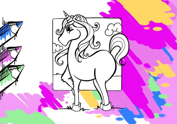 Unicorn Printable Coloring Page For Kids And Adult Color Pdf File Pages Druckbare Lol