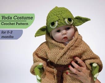 Infant Yoda Crochet Costume Pattern PDF, Star Wars Baby Costume, Newborn Baby Crochet Pattern, Yoda Baby Costume, Star Wars Pattern