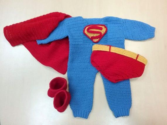 Infant Superman Crochet Costume Pdf Pattern Superman Costume Etsy