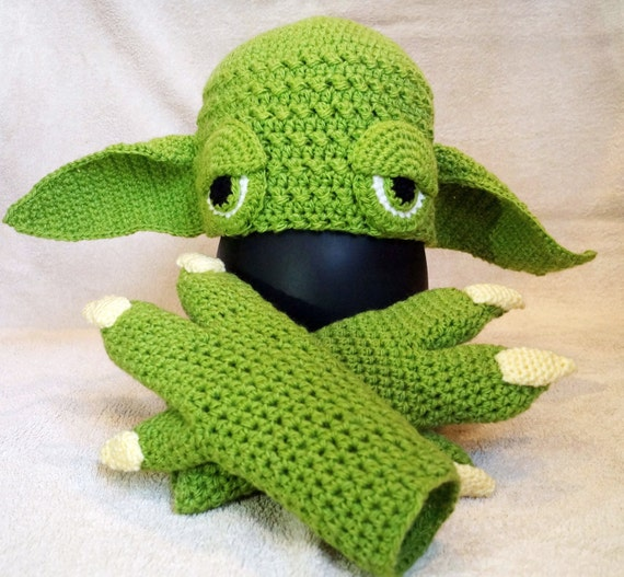 Yoda Hat Crochet Pattern Pdf Yoda Gloves Crochet Pattern Etsy