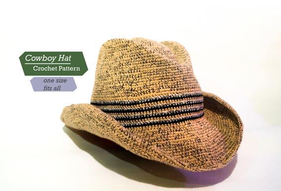 Cowboy Hat Crochet Pattern Pdf Adult Cowboy Hat Crochet Etsy