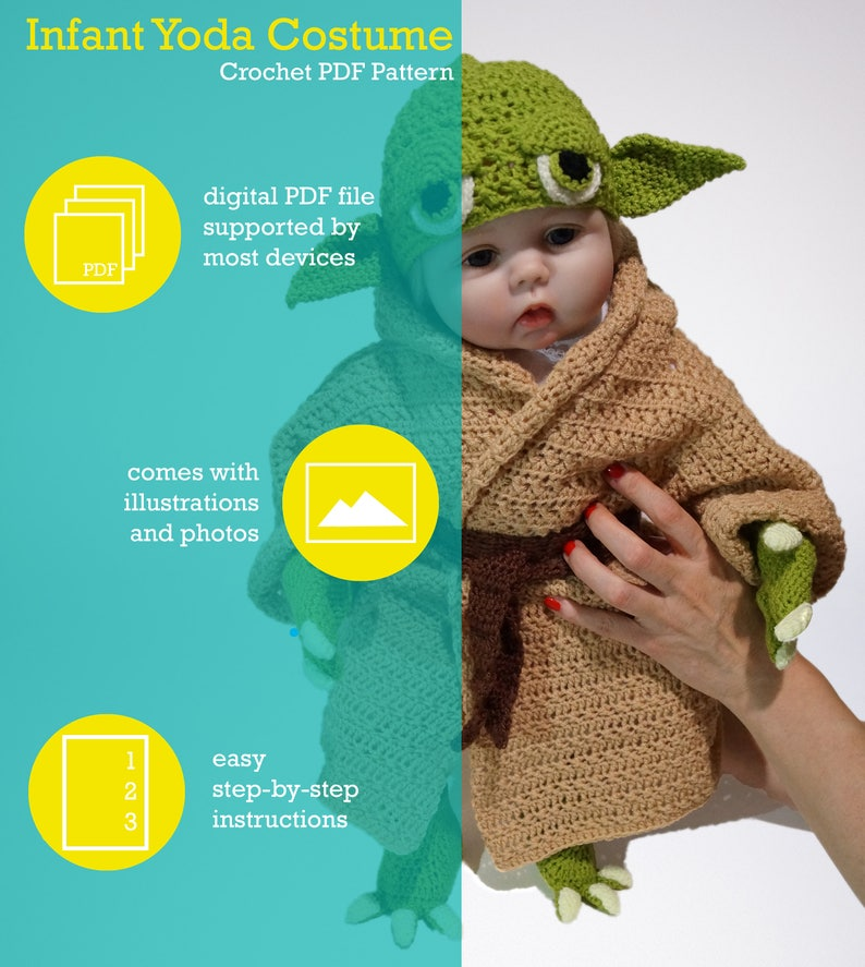 Infant Yoda Crochet Costume Pattern Pdf Star Wars Baby Etsy
