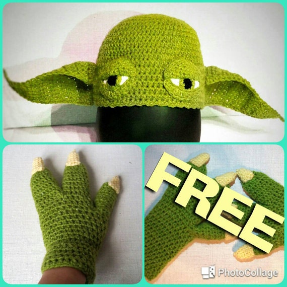 Yoda Hat Crochet Pattern Yoda Gloves Crochet Pattern Set Etsy