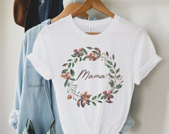 Bohemian Floral Mama Adult Tee • Modern Boho Graphic Tee for Women • Graphic Tan and Floral Mama Mother Mom Tee