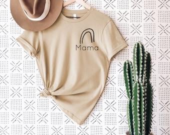 Rainbow Mama Adult Tee • Modern Boho Graphic Tee for Women • Mama Graphic Tee Rainbow • Tan Light Cream and Black