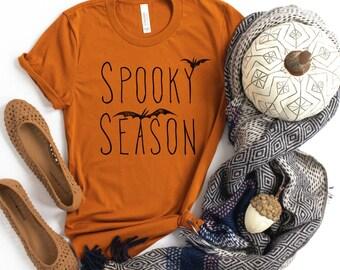 Spooky Season Halloween Adult Tee • Modern Halloween Fall Graphic Tee • Autumn Black and Bats Spooky Boo Shirt