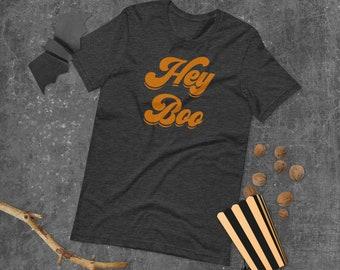 Hey Boo Orange Adult Tee • Modern Halloween Graphic Tee Unisex • Seasonal Graphic Tee • Autumn/Fall Shirt