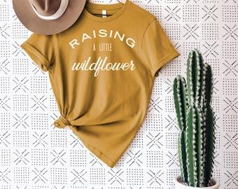 Raising A Little Wildflower Adult Tee • Modern Boho Graphic Tee for Women • Graphic Mustard Wildflower Tee