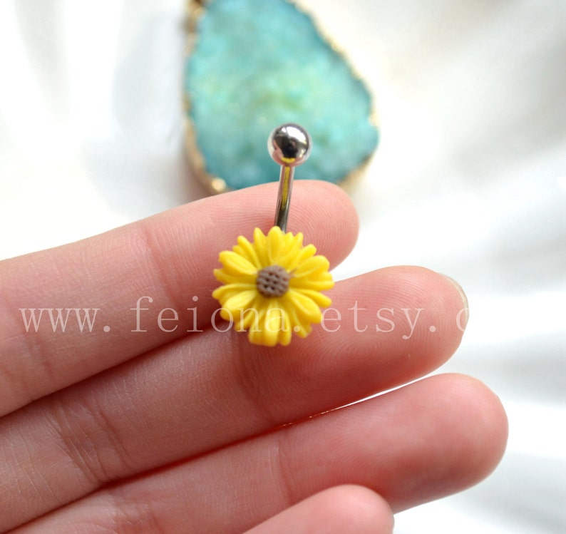 Yellow resin flower belly button ring Navel Piercing image 0