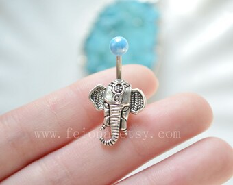 Silvery elephant belly button ring, elephant Navel Piercing,friendship blue bead Belly Ring , Belly Button Piercing, Belly jewelry