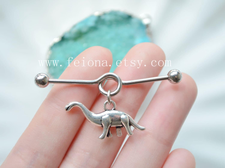 Silvery dinosaur Industrial Barbell piercing Ear Jewelry | Etsy