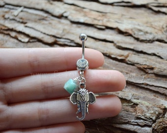 Silvery elephant belly button ring, Navel Piercing, friendship belly rings, Dangle Belly Ring , Belly Button Piercing, Belly jewelry