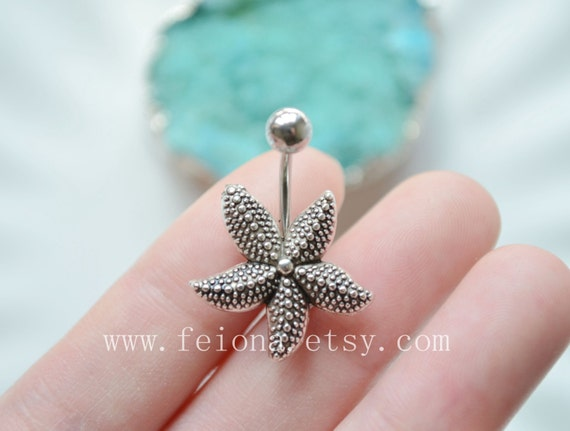 Turquoise Starfish Belly Button Ring Sea Star Navel Piercing body Jewelry
