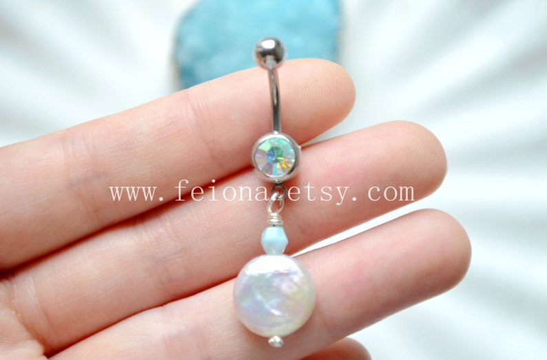 Nature White Pearl Belly Button Ring Crystal Pearl Navel Piercing Friendship Pearl Belly Rings Belly Button Piercing Belly Jewelry
