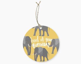 Elephant Birthday Pun Round Gift Tag
