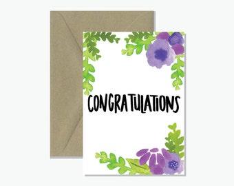 Congratulations Watercolour Greeting Card
