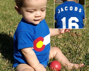 Colorado Onesie - This Handcrafted Colorado Flag Onesie can be Personalized! Customize it for the perfect CO baby gift!