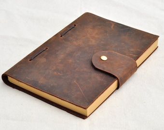 Personalized leather journal leather notebook  gifts for him gifts for her unique notebook(Free stamp)