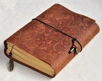 Wedding Guest Book flower leather guest book